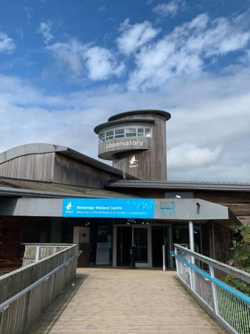 The entrance to the Slimbridge Wetland Centre.