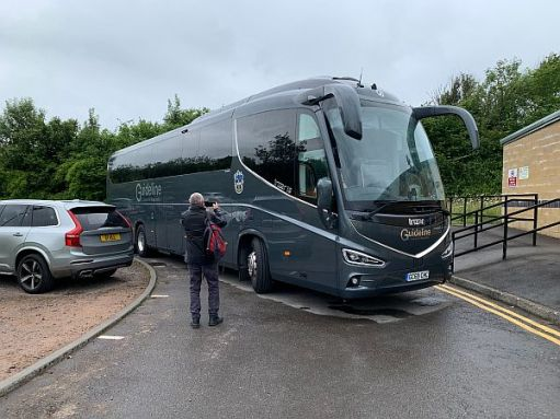 Sutton United team coach arriving at Forest Green.