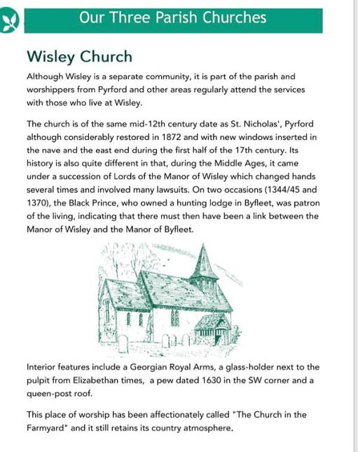 A bit of history about Wisley Church.