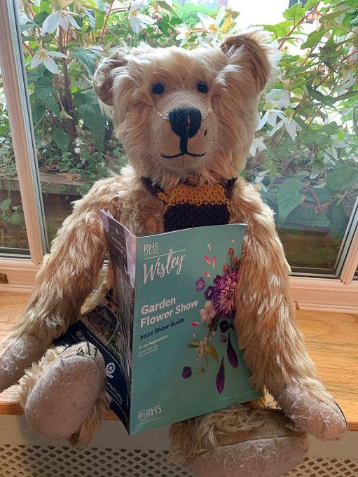 Bertie reading the Wisley Garden Dlower Show Guide.