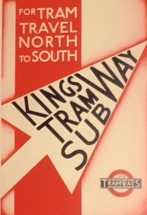 Poster advertising North to South travel through the Kingsway Tram Subway.