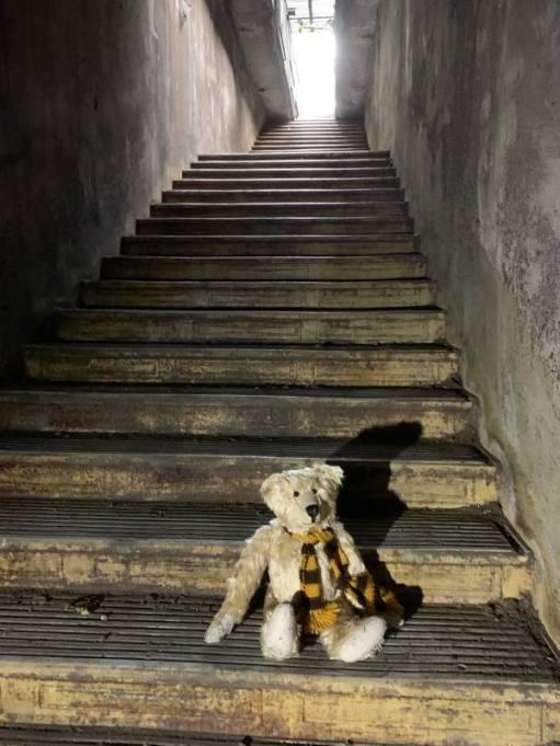 Bertie sat on the stairway to Aldwych tram stop.