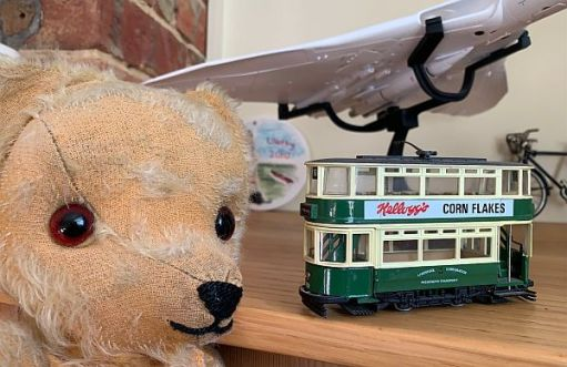 Eamonn looking at Bobby's model of a Liverpool tram.