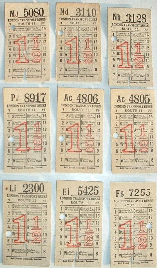 A grid of 9 1½d London Transport tickets.