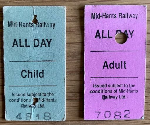 Two tickets from the Mid Hants Railway.