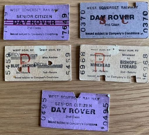 Selection of West Somerset Railway tickets.