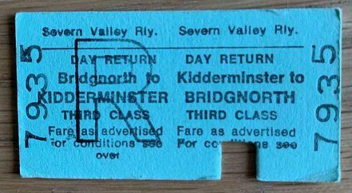 Bridgnorth to Kidderminster Day Return. 3rd Class. Severn Valley Railway.