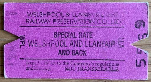 Welshpool and Llanfair Railway ticket.