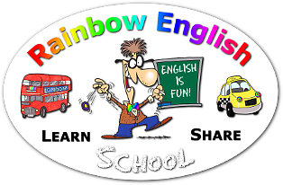 """rainbow teaching learning values"" mind map ""Rainbow English School"" badge"