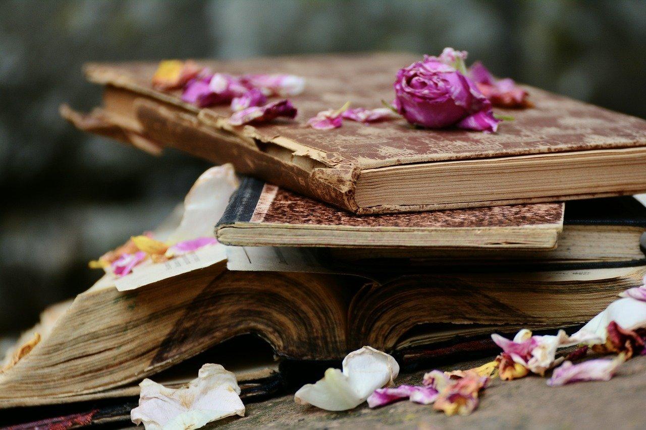 pètals de flors als llibres