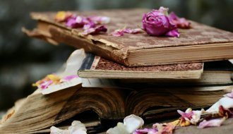 flower petals on books