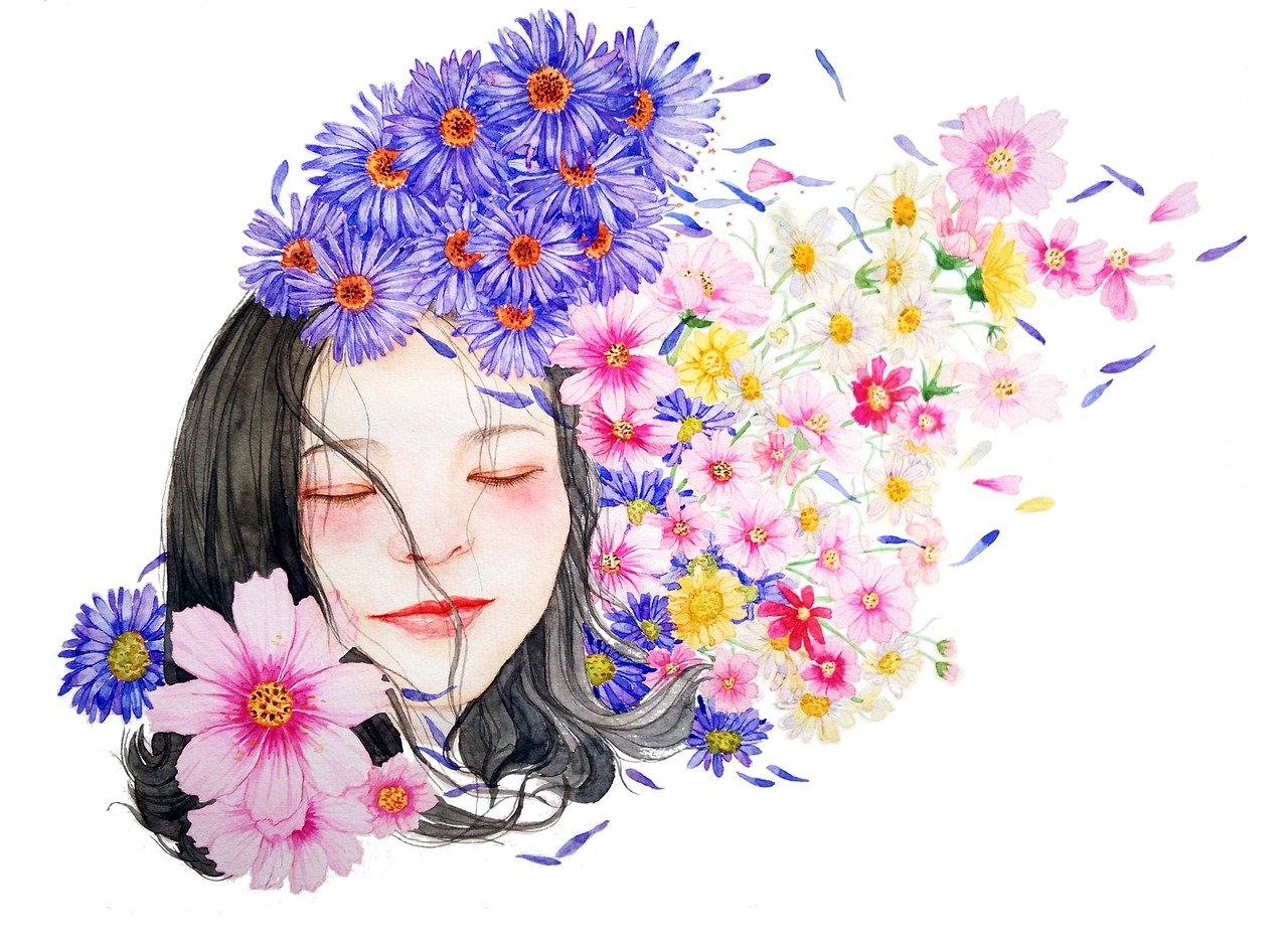 Watercolor portrait of girl with spring flowers.