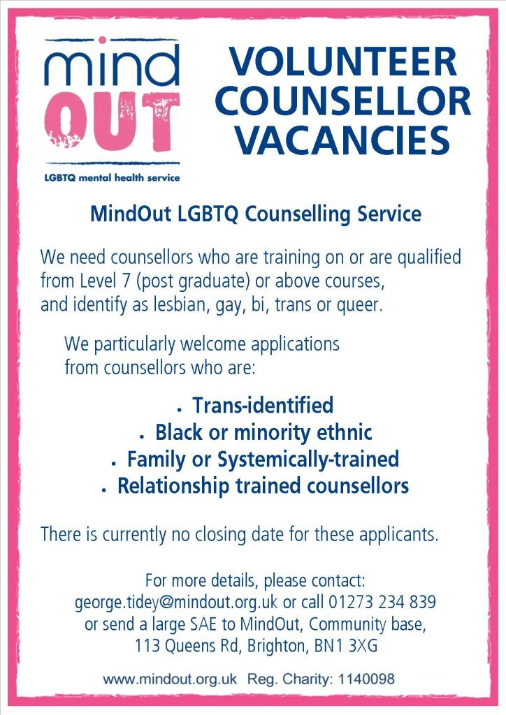 volunteer counsellor vacancies
