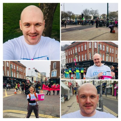 A collage of photos showing a happy caucasian man volunteering with a collection bucket at a public event.