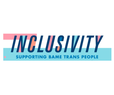 the word inclusivity written in capital blue letters with supporting bame trans people written below it