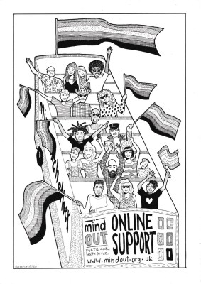 illustration of MindOut bus full of a diverse group of people waving flags. illustration is monochrome. designed by Queen Josephine