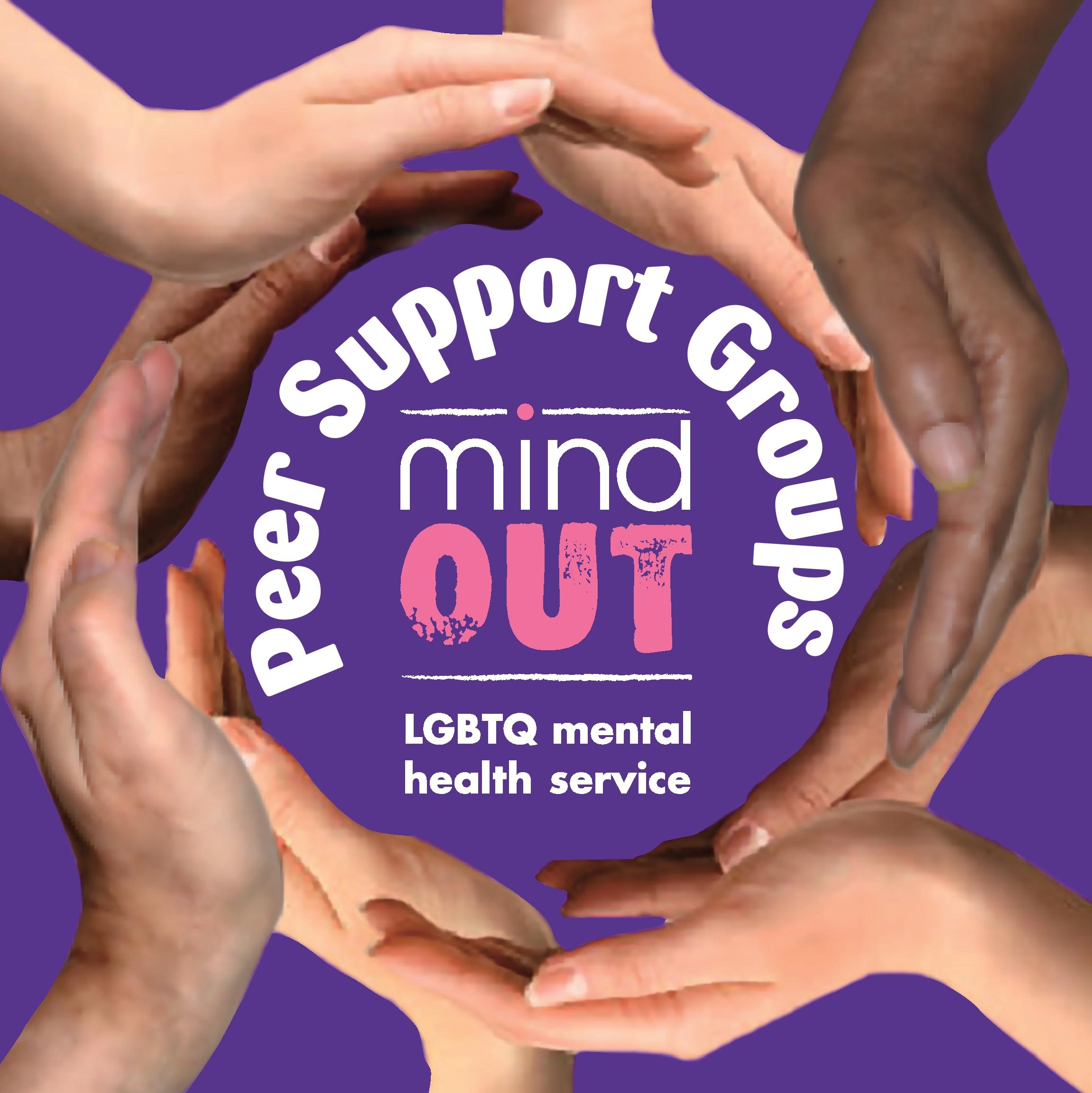 hands forming a circle around the words peer support groups and the mindout logo. text is white with one word in pink, on a purple background