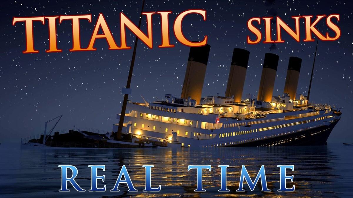 Eine Animation lässt die Titanic in Echtzeit versinken