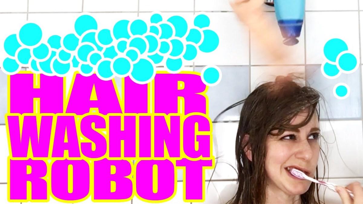 Die wundervolle Simone Giertz hat einen Haarwaschroboter gebaut