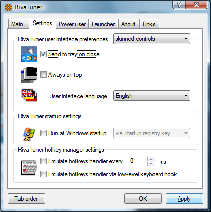 Configure RivaTuner to Minimize to System Tray