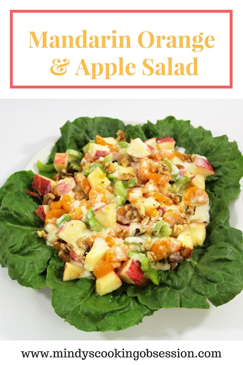 Mandarin oranges, apple, celery, walnuts, mayonnaise, milk, a lemon, and sugar are all you need to make this delicious Mandarin Orange & Apple Salad.