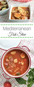 Mediterranean Fish Stew features cod, potatoes, tomatoes, carrots, celery, onions, garlic, anchovies, and fresh herbs. It is a flavorful and healthy dish.