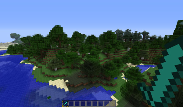 image shows a landscape of Minecraft, using the textures simplecraft 1.8