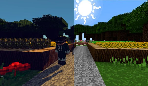 Imagen donde puedes ver a un personaje junto a dos huertos. Todo decorado con el pack de texturas PixaGraph para Minecraft 1.15, 1.14 y 1.12. Comparativa entre texturas
