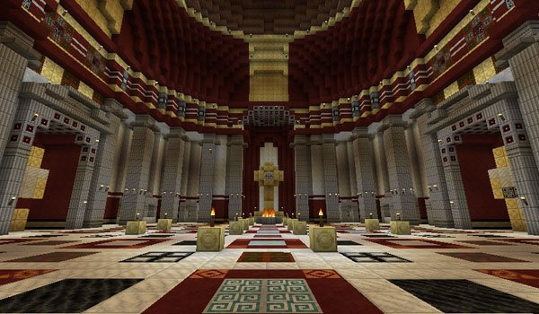 a roman temple, decorated by romecraft texture pack.