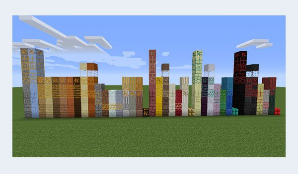 image where we see the blocks after adding the more materials mod 1.7.2 and 1.7.10.