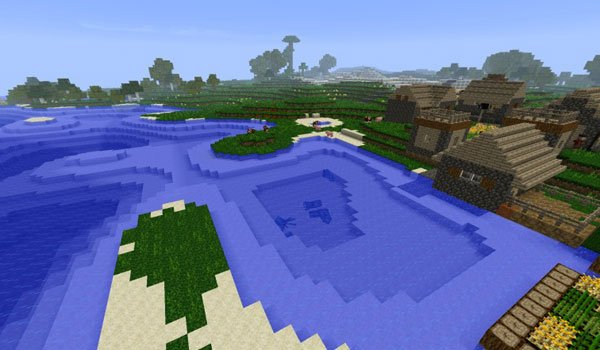 image where we see new places where villages appear, using the new dawn mod 1.7.2 and 1.7.10.
