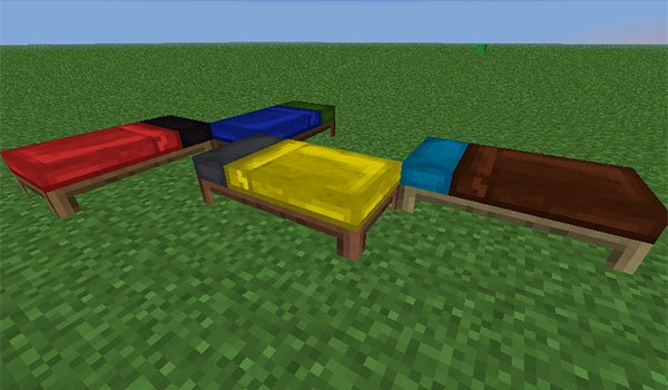 picture where we see four beds with sheets and pillows of different colors, thanks to the bed craft and beyond mod 1.7.10.