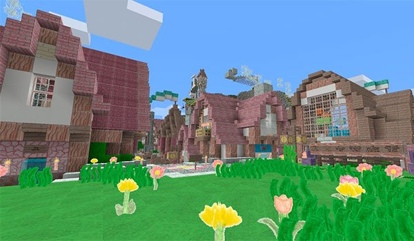 image of a village in Minecraft, decorated with pencil pack 1.8.