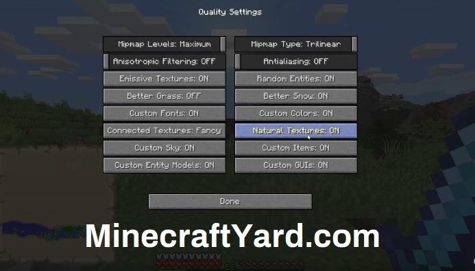 Optifine Quality Setting