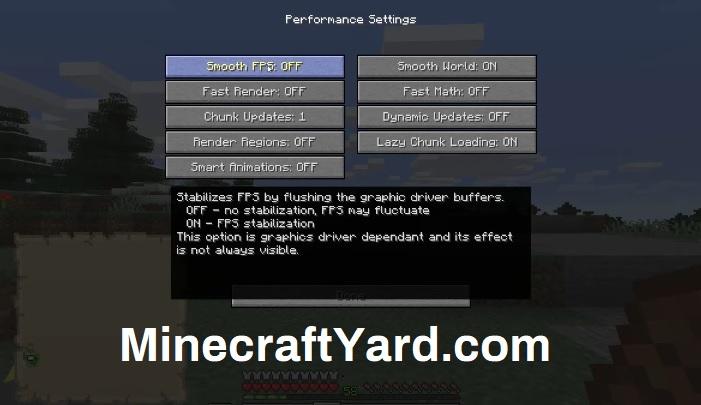 Optifine Mod Performance Setting