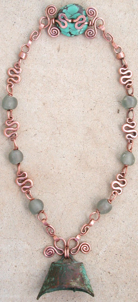 bronze bell necklace