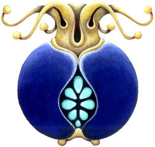 lapis lazuli and gold pomegranate