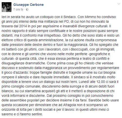 Post pubblicato dal consigliere Giuseppe Cerbone
