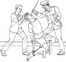 酷刑示意图:摧残性灌食