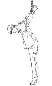 中共酷刑示意图:吊背铐