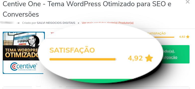 Satisfacao Tema WordPress Centive One
