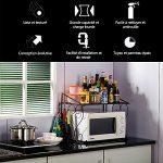 AllRight Support de Four à Micro-Ondes Multifonctionnel Rangement pour Armoire en Fer Pliable de Cuisine Extensible Noir
