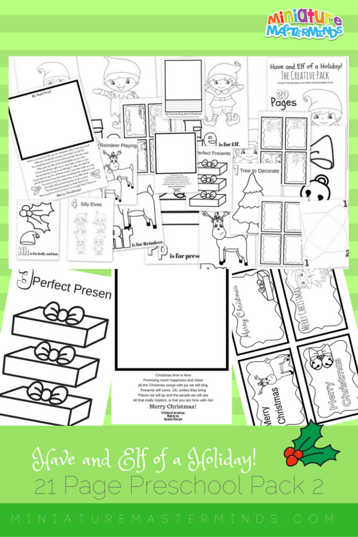 Have An Elf of a Holiday Pack 2 The Creative Pack – Black and White Printer Friendly Free Printable Activities