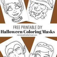 Free Printable DIY Coloring Halloween Masks Set Of Four
