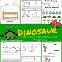 20+ Page Dinosaur Themed Free Printable Preschool and Kindergarten Workbook