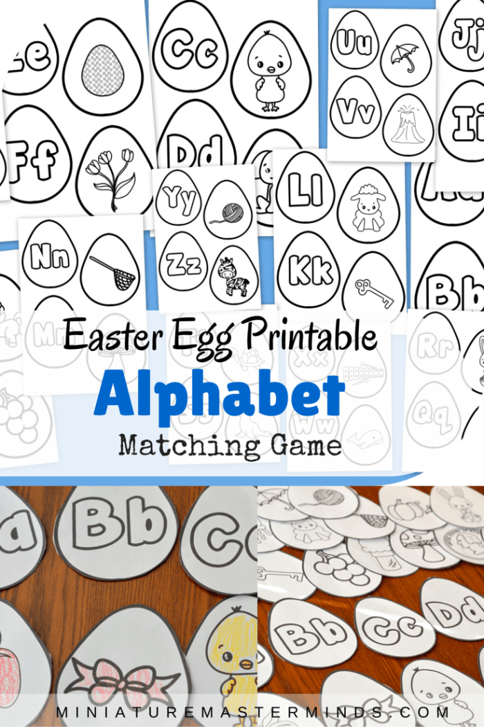 photo relating to Alphabet Matching Game Printable known as Easter Egg Printable Alphabet Starting up Letter Appears