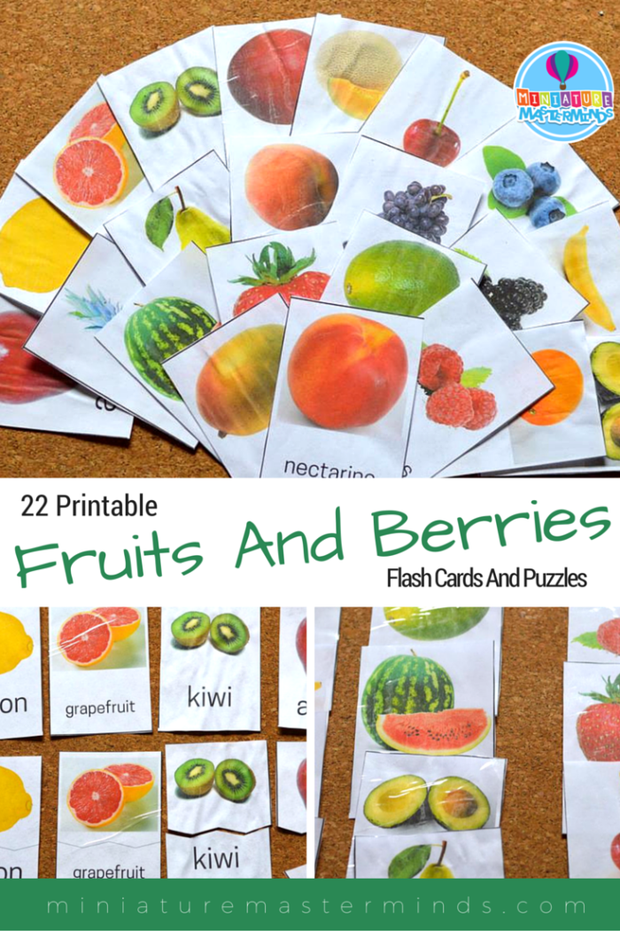 22 Printable Fruits And Berries Flash Cards And Puzzles