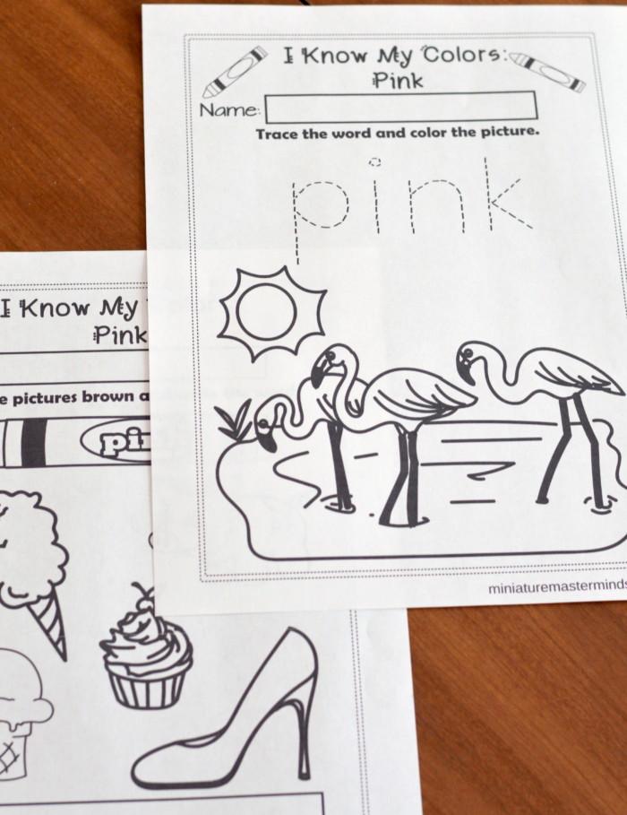 I Know My Colors Series Pink Free Printable No Prep 9 Page Workbook