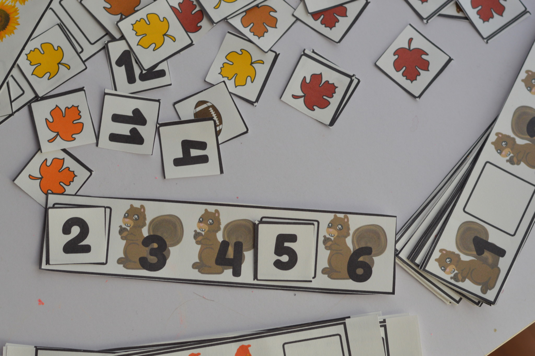 Printable Preschool Fall Fill In Missing Number Counting And Pattern Strip Cards Miniature