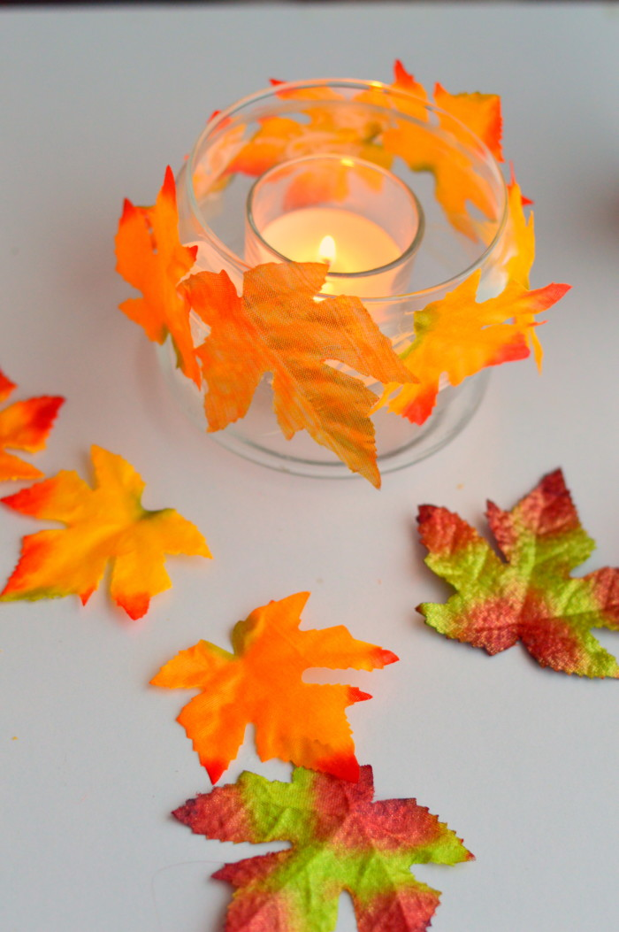 DIY Fall Leaves Candle Holder miniature Masterminds
